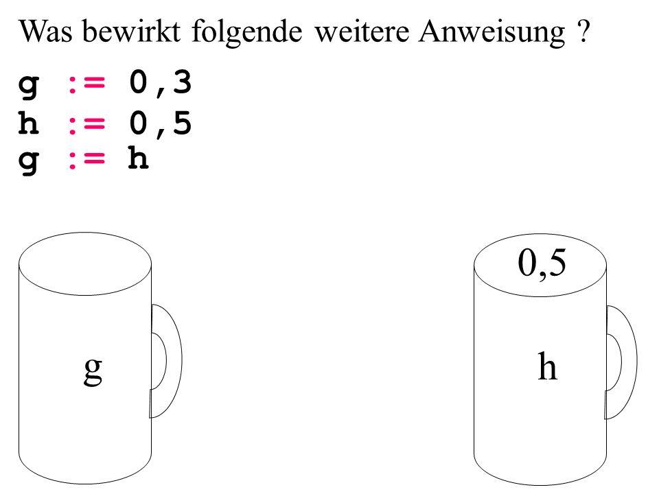 Was bewirkt folgende weitere Anweisung g := 0,3 g h 0,5 h := 0,5 g := h
