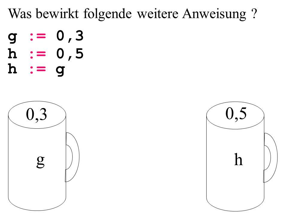 Was bewirkt folgende weitere Anweisung g := 0,3 g h h := 0,5 h := g 0,3 0,5