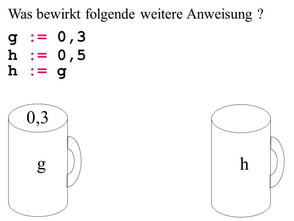 Was bewirkt folgende weitere Anweisung g := 0,3 g h h := 0,5 h := g 0,3