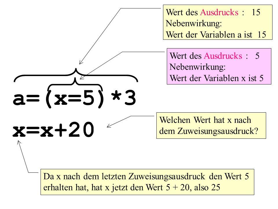 a=(x=5)*3 Wert des Ausdrucks : 15 Nebenwirkung: Wert der Variablen a ist 15 Wert des Ausdrucks : 5 Nebenwirkung: Wert der Variablen x ist 5 x=x+20 Welchen Wert hat x nach dem Zuweisungsausdruck.
