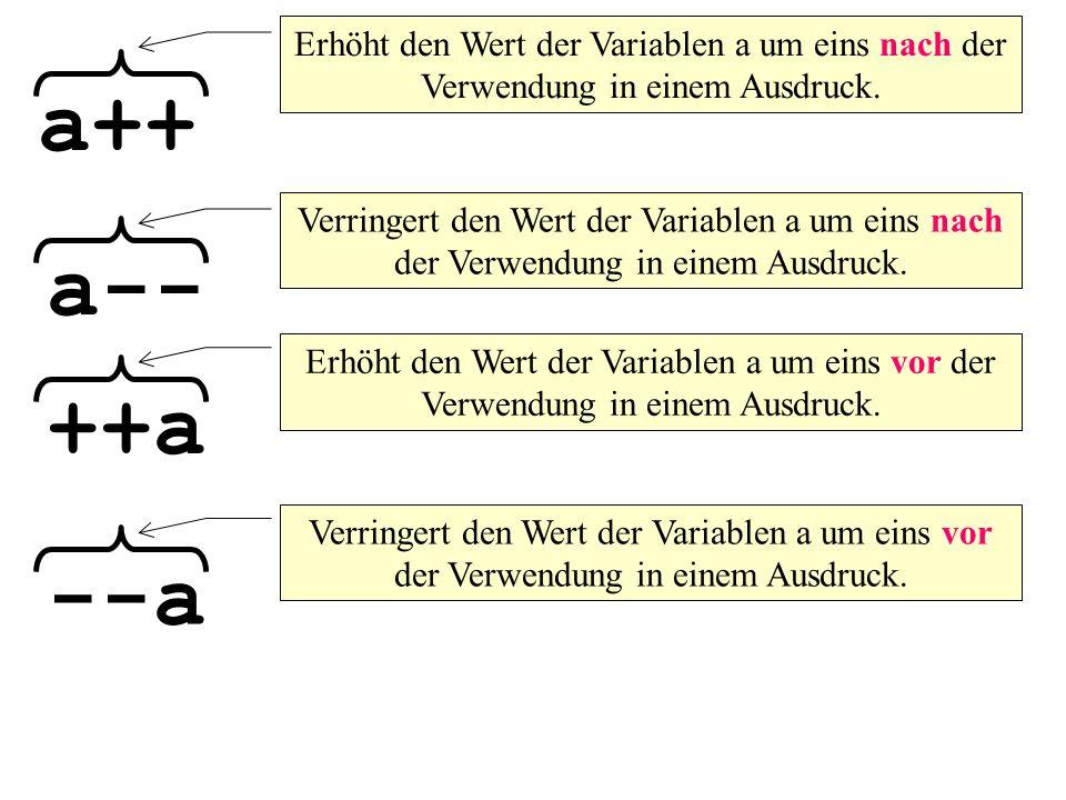 a++ a-- Erhöht den Wert der Variablen a um eins nach der Verwendung in einem Ausdruck.