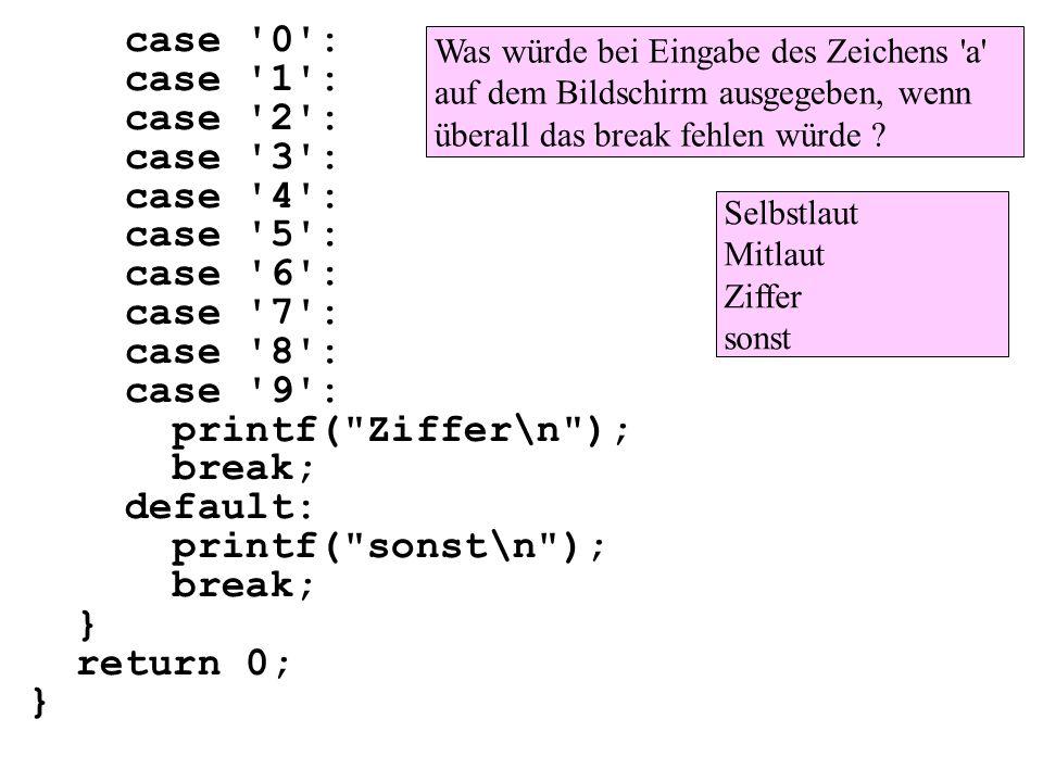 case '0': case '1': case '2': case '3': case '4': case '5': case '6': case '7': case '8': case '9': printf(
