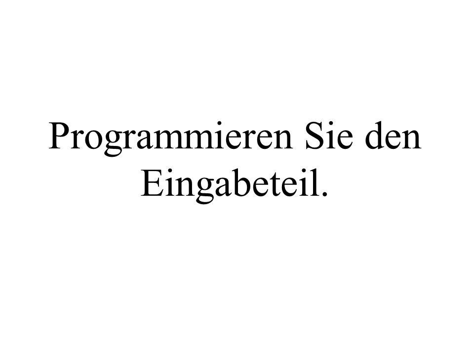 import java.io.*; public class MainWochentag1 { public static void main() throws IOException{ int i; String str; System.out.println( Eingabe der Nummer ); BufferedReader myinput = new BufferedReader(new InputStreamReader(System.in)); str = myinput.readLine(); i=Integer.parseInt(str); //...
