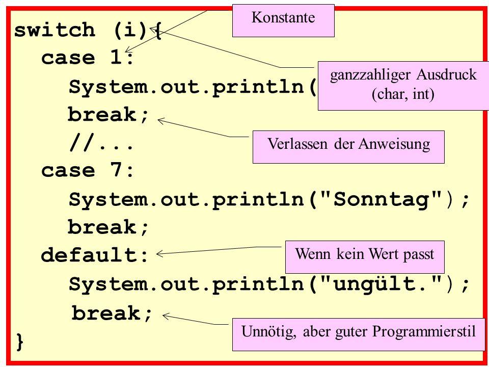 Java-Syntax für SWITCH