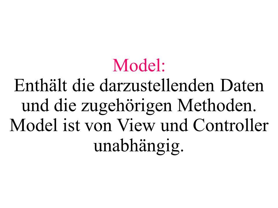 Model: Enthält die darzustellenden Daten und die zugehörigen Methoden. Model ist von View und Controller unabhängig.