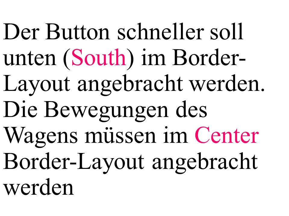 Der Button schneller soll unten (South) im Border- Layout angebracht werden. Die Bewegungen des Wagens müssen im Center Border-Layout angebracht werde
