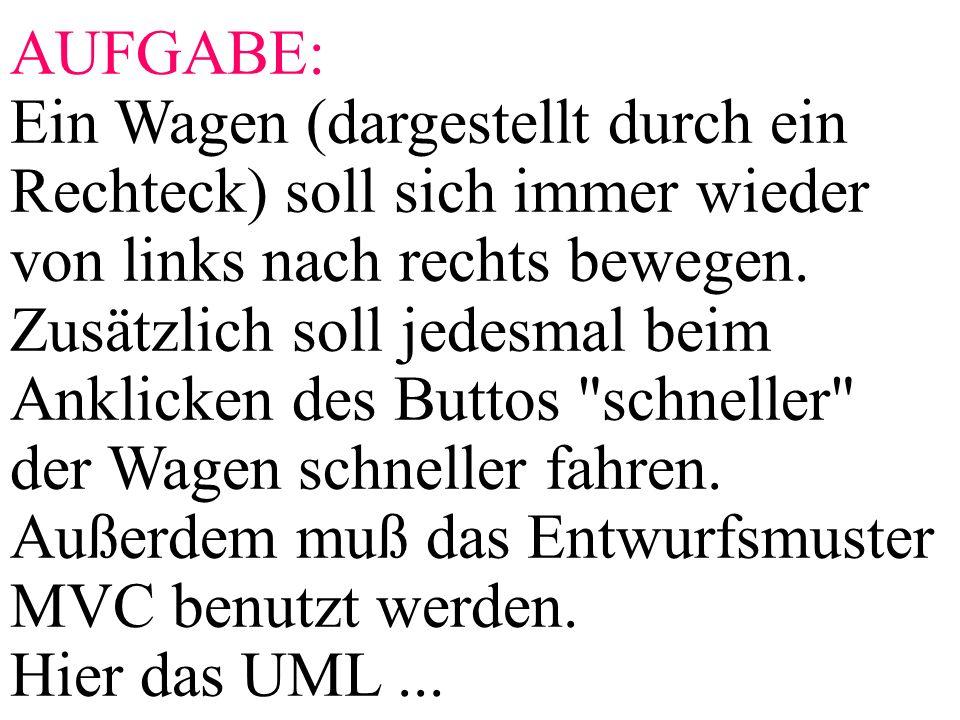 AUFGABE: Ein Wagen (dargestellt durch ein Rechteck) soll sich immer wieder von links nach rechts bewegen. Zusätzlich soll jedesmal beim Anklicken des