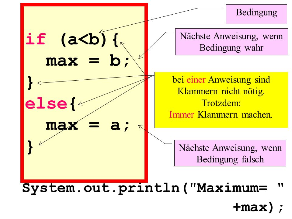 if (a<b){ max = b; } else{ max = a; } System.out.println(