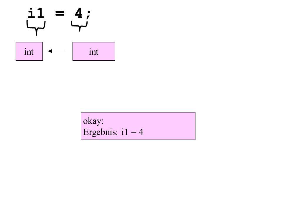 i1 = 4; int okay: Ergebnis: i1 = 4