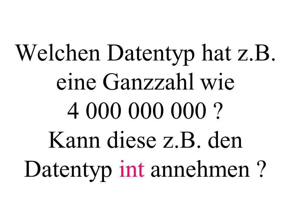 Welchen Datentyp hat z.B. eine Ganzzahl wie 4 000 000 000 .