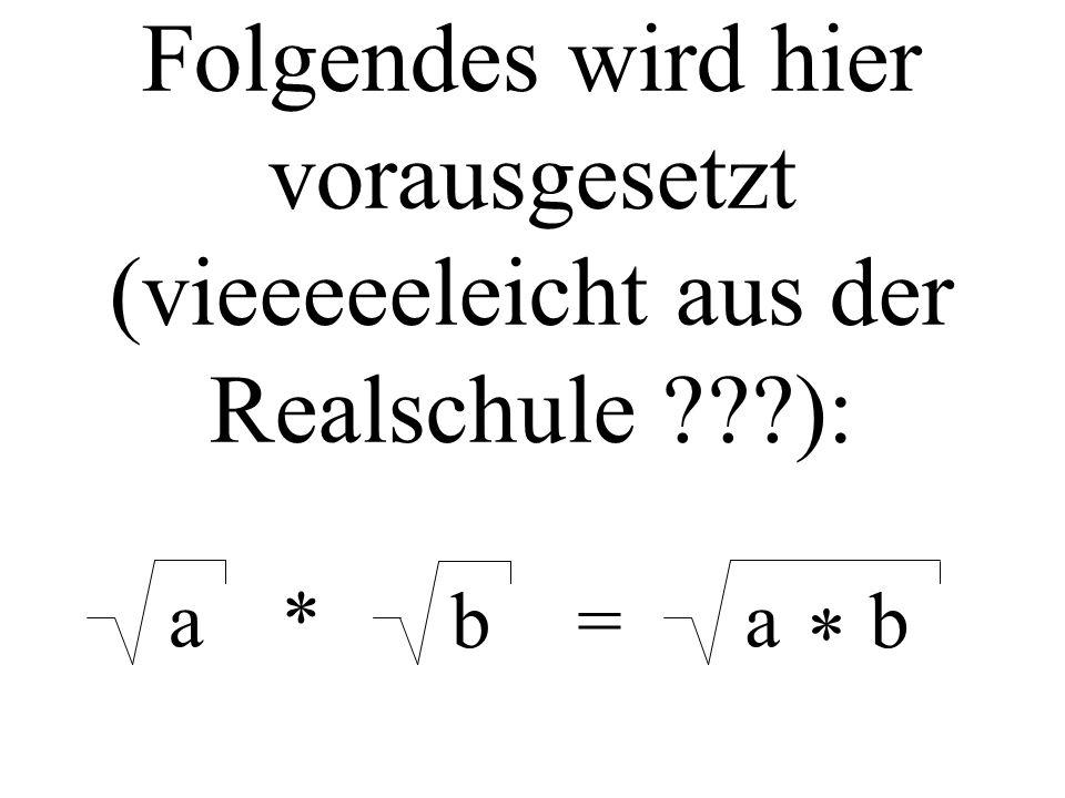 Folgendes wird hier vorausgesetzt (vieeeeeleicht aus der Realschule ???): a* b= a b *