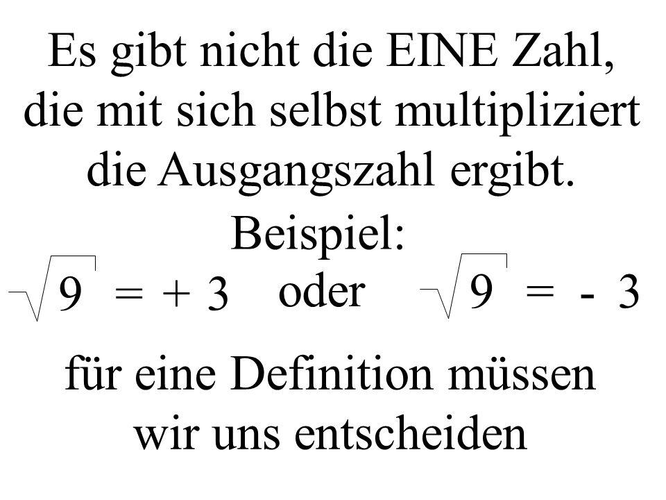 Es gibt nicht die EINE Zahl, die mit sich selbst multipliziert die Ausgangszahl ergibt.