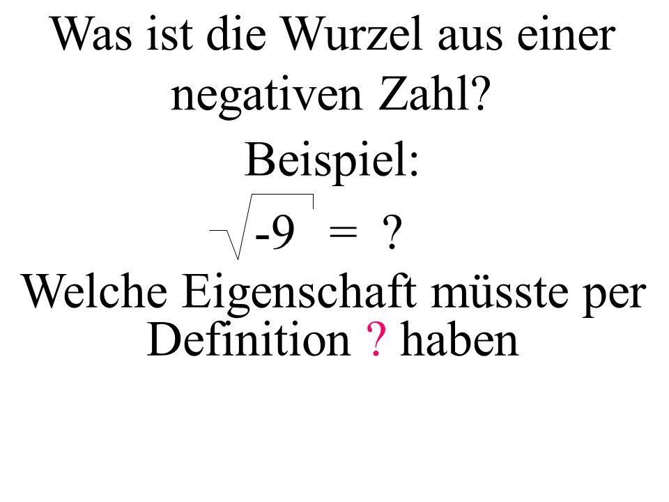Was ist die Wurzel aus einer negativen Zahl Beispiel: -9=