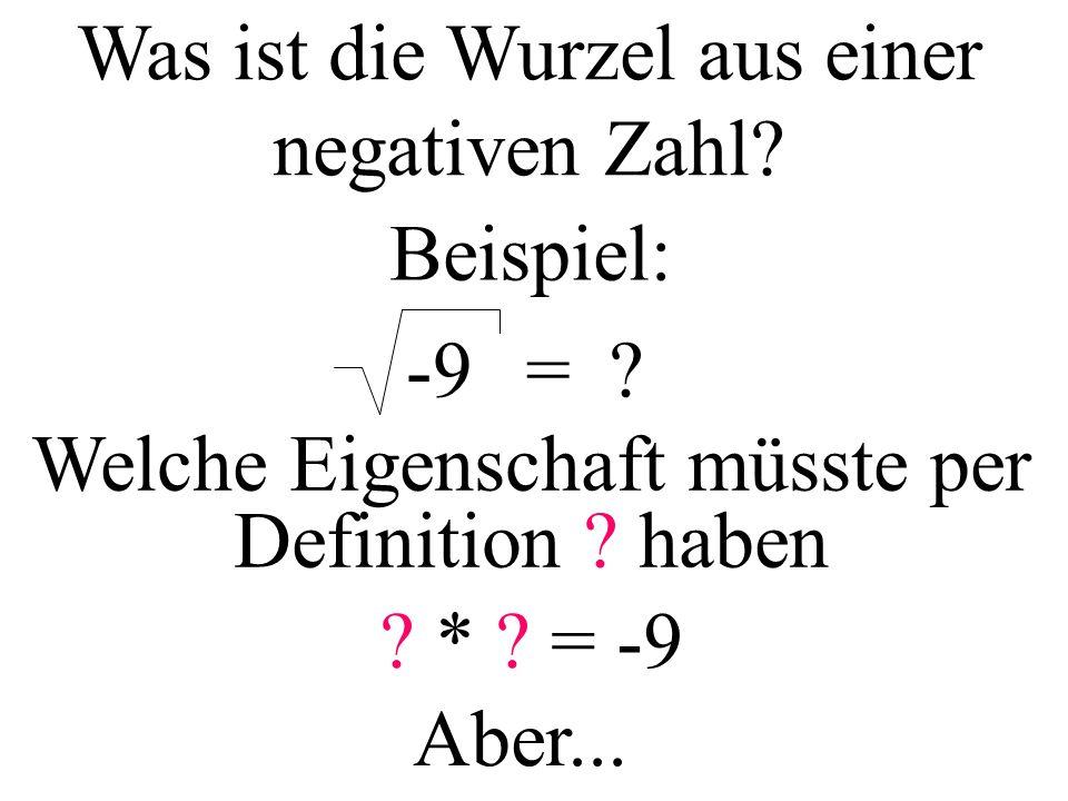 Was ist die Wurzel aus einer negativen Zahl. Beispiel: -9=.