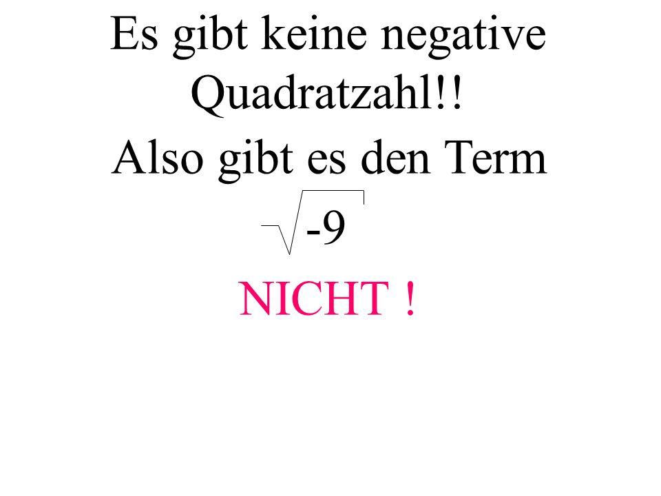 Es gibt keine negative Quadratzahl!! Also gibt es den Term -9