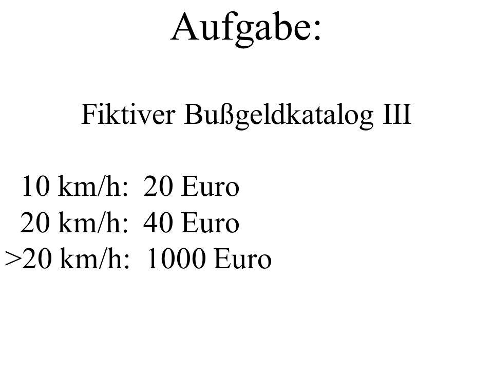 Aufgabe: Fiktiver Bußgeldkatalog III 10 km/h: 20 Euro 20 km/h: 40 Euro >20 km/h: 1000 Euro