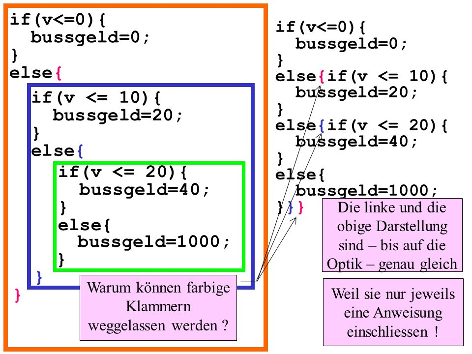 if(v<=0){ bussgeld=0; } else{ if(v <= 10){ bussgeld=20; } else{ if(v <= 20){ bussgeld=40; } else{ bussgeld=1000; } } } if(v<=0){ bussgeld=0; } else{if