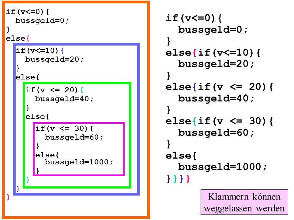 if(v<=0){ bussgeld=0; } else{ if(v<=10){ bussgeld=20; } else{ if(v <= 20){ bussgeld=40; } else{ if(v <= 30){ bussgeld=60; } else{ bussgeld=1000; } } }