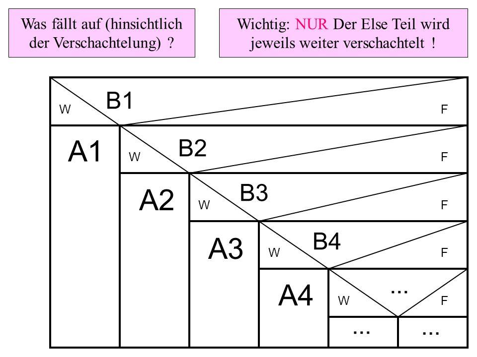 WF WF WF WF WF A1 B1 B2 B3 B4... A2 A3 A4... Wichtig: NUR Der Else Teil wird jeweils weiter verschachtelt ! Was fällt auf (hinsichtlich der Verschacht