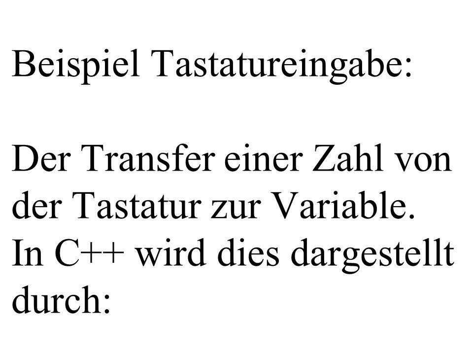 Beispiel Tastatureingabe: Der Transfer einer Zahl von der Tastatur zur Variable. In C++ wird dies dargestellt durch: