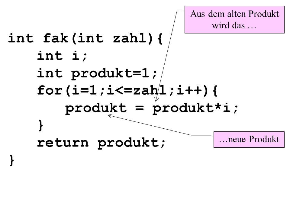 int fak(int zahl){ int i; int produkt=1; for(i=1;i<=zahl;i++){ produkt = produkt*i; } return produkt; } Aus dem alten Produkt wird das … …neue Produkt