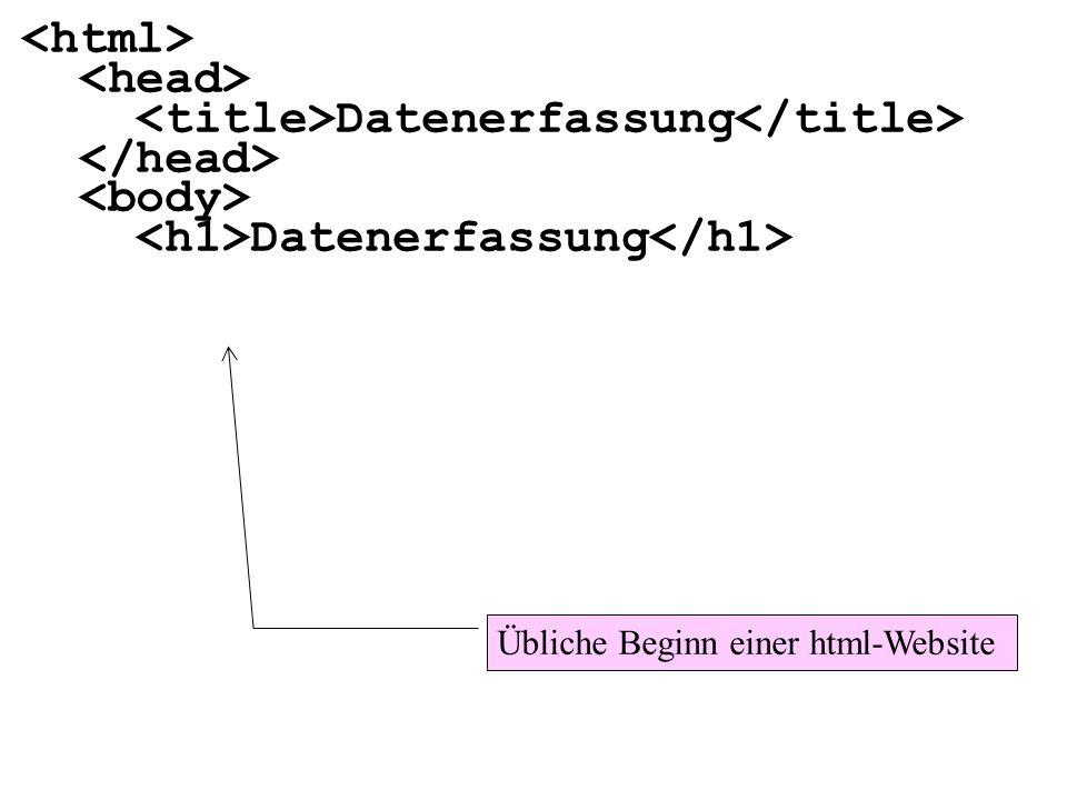 Datenerfassung Datenerfassung Übliche Beginn einer html-Website