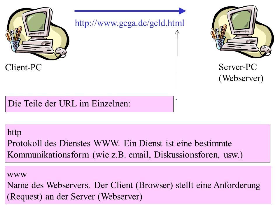 http://www.gega.de/geld.html Die Teile der URL im Einzelnen: http Protokoll des Dienstes WWW. Ein Dienst ist eine bestimmte Kommunikationsform (wie z.