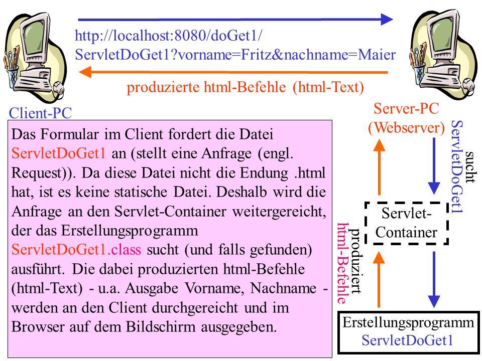 http://localhost:8080/doGet1/ ServletDoGet1?vorname=Fritz&nachname=Maier Client-PC Server-PC (Webserver) Das Formular im Client fordert die Datei Serv