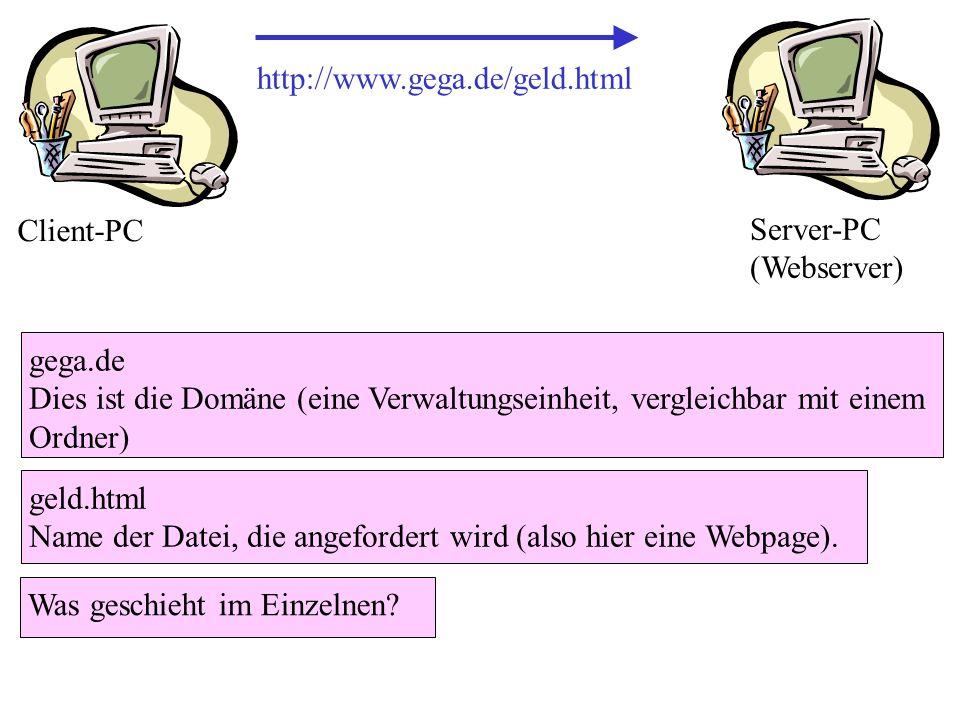 http://www.gega.de/geld.html geld.html Name der Datei, die angefordert wird (also hier eine Webpage). gega.de Dies ist die Domäne (eine Verwaltungsein
