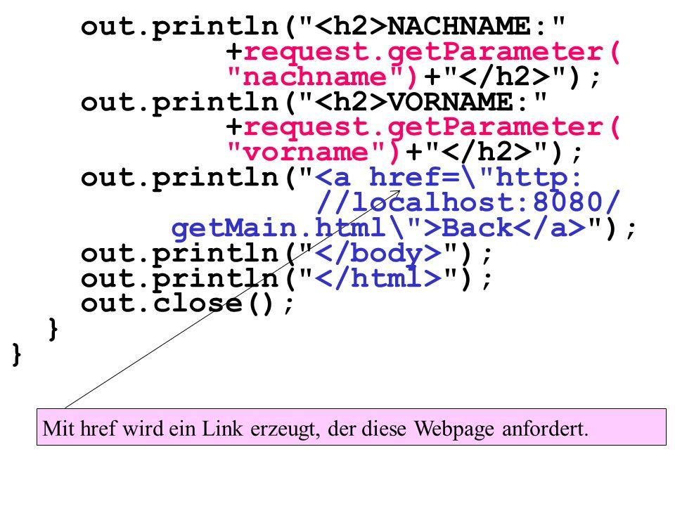 Mit href wird ein Link erzeugt, der diese Webpage anfordert. out.println(