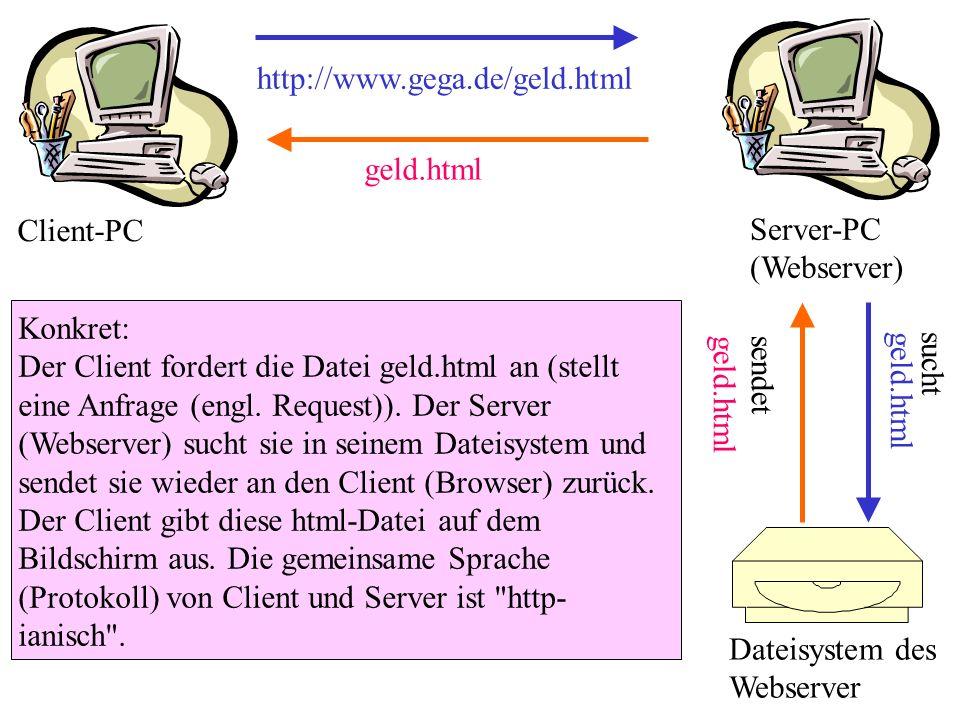 http://www.gega.de/geld.html Konkret: Der Client fordert die Datei geld.html an (stellt eine Anfrage (engl. Request)). Der Server (Webserver) sucht si