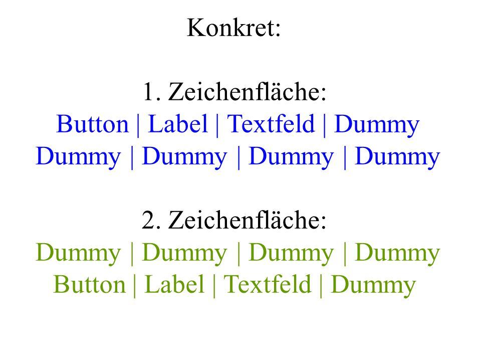 Konkret: 1. Zeichenfläche: Button | Label | Textfeld | Dummy Dummy | Dummy | Dummy | Dummy 2. Zeichenfläche: Dummy | Dummy | Dummy | Dummy Button | La