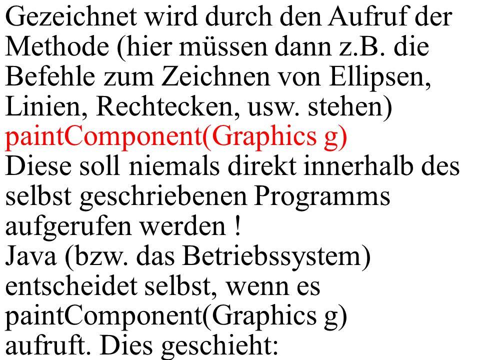 Gezeichnet wird durch den Aufruf der Methode (hier müssen dann z.B. die Befehle zum Zeichnen von Ellipsen, Linien, Rechtecken, usw. stehen) paintCompo