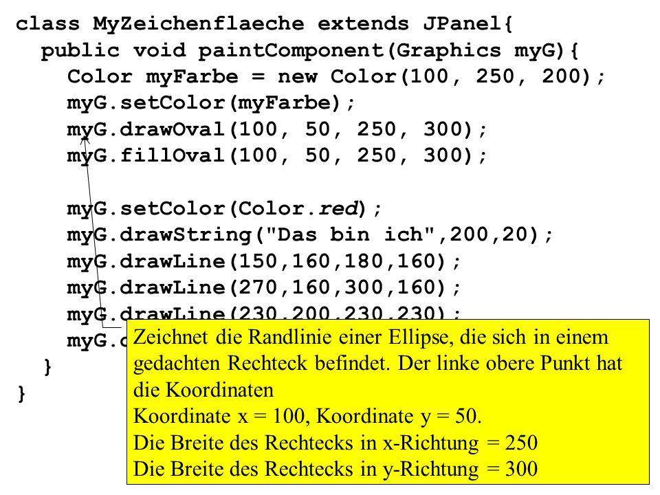 class MyZeichenflaeche extends JPanel{ public void paintComponent(Graphics myG){ Color myFarbe = new Color(100, 250, 200); myG.setColor(myFarbe); myG.
