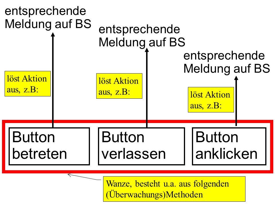 entsprechende Meldung auf BS Button betreten Button verlassen Wanze, besteht u.a.