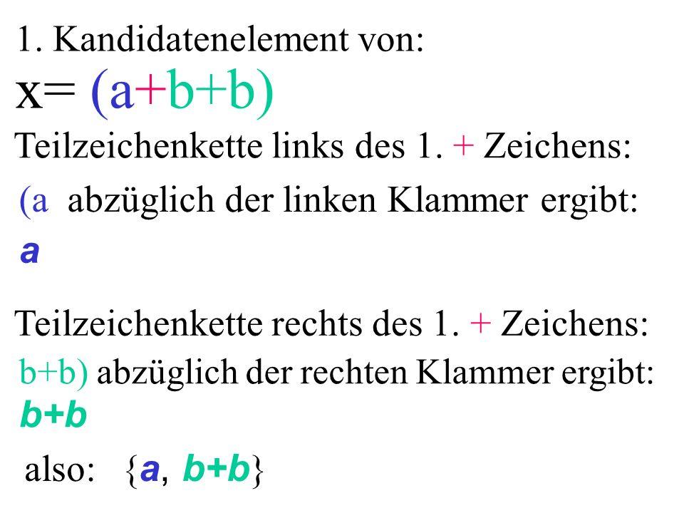 1. Kandidatenelement von: x= (a+b+b) a b+b (a abzüglich der linken Klammer ergibt: b+b) abzüglich der rechten Klammer ergibt: Teilzeichenkette links d