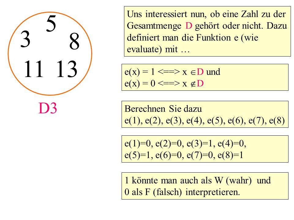 3 5 D3 8 Uns interessiert nun, ob eine Zahl zu der Gesamtmenge D gehört oder nicht.