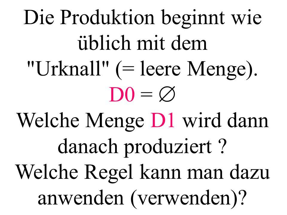 Die Produktion beginnt wie üblich mit dem Urknall (= leere Menge).