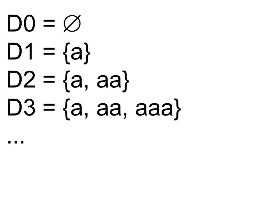 D0 = D1 = {a} D2 = {a, aa} D3 = {a, aa, aaa}...