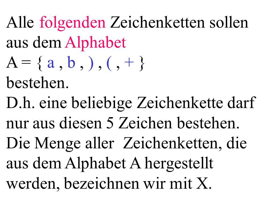 Alle folgenden Zeichenketten sollen aus dem Alphabet A = { a, b, ), (, + } bestehen.