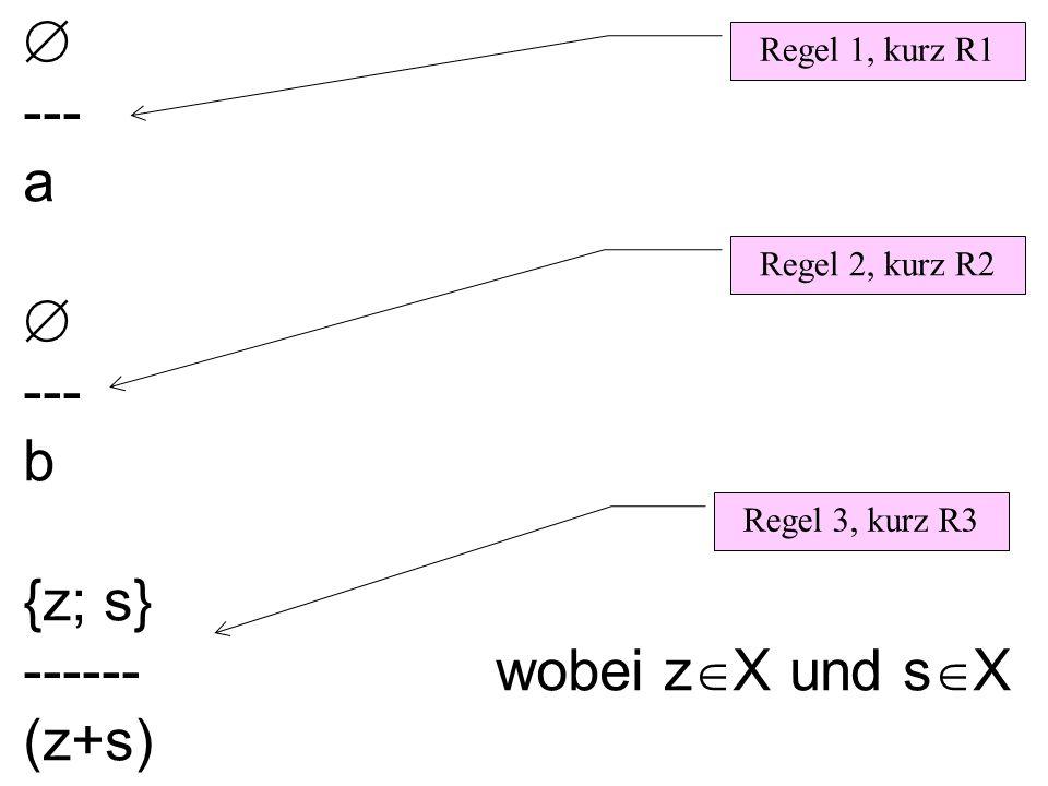 --- a --- b {z; s} ------ wobei z X und s X (z+s) Regel 1, kurz R1 Regel 3, kurz R3 Regel 2, kurz R2