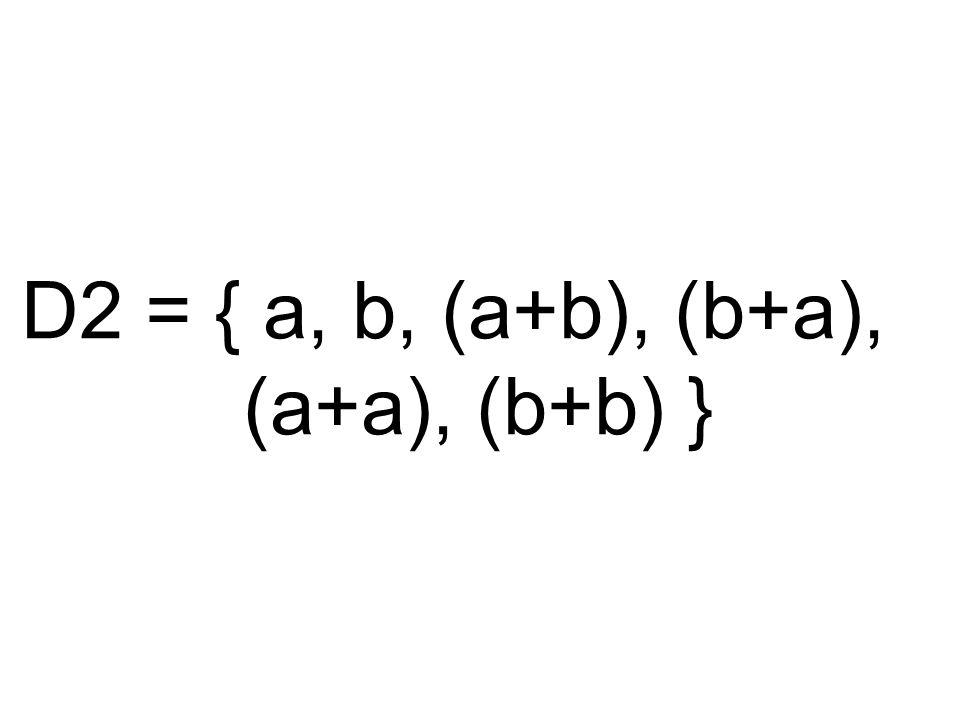 D2 = { a, b, (a+b), (b+a), (a+a), (b+b) }
