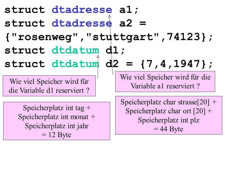 struct dtadresse a1; struct dtadresse a2 = { rosenweg , stuttgart ,74123}; struct dtdatum d1; struct dtdatum d2 = {7,4,1947}; Wie viel Speicher wird für die Variable a1 reserviert .