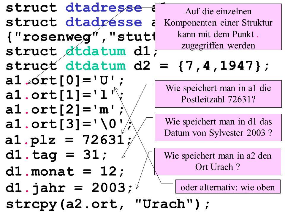 struct dtadresse a1; struct dtadresse a2 = { rosenweg , stuttgart ,74123}; struct dtdatum d1; struct dtdatum d2 = {7,4,1947}; a1.ort[0]= U ; a1.ort[1]= l ; a1.ort[2]= m ; a1.ort[3]= \0 ; Auf die einzelnen Komponenten einer Struktur kann mit dem Punkt.