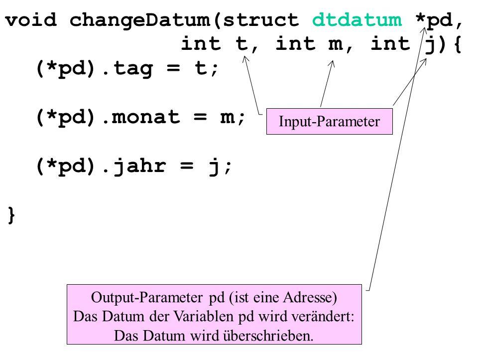 void changeDatum(struct dtdatum *pd, int t, int m, int j){ (*pd).tag = t; (*pd).monat = m; (*pd).jahr = j; } Input-Parameter Output-Parameter pd (ist eine Adresse) Das Datum der Variablen pd wird verändert: Das Datum wird überschrieben.