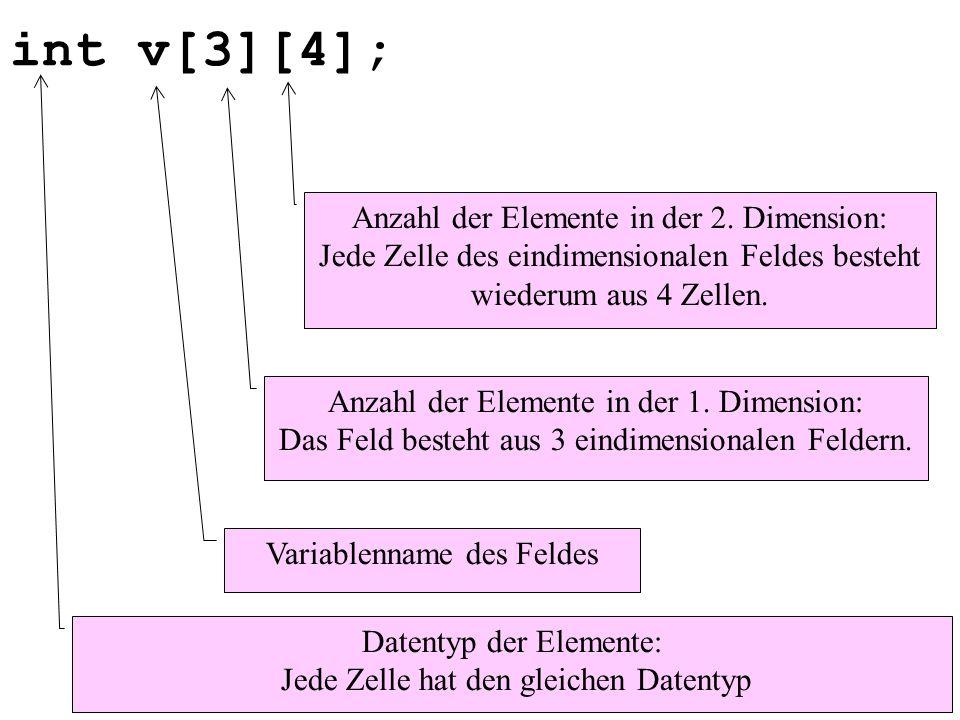 int v[3][4]; Datentyp der Elemente: Jede Zelle hat den gleichen Datentyp Variablenname des Feldes Anzahl der Elemente in der 1. Dimension: Das Feld be