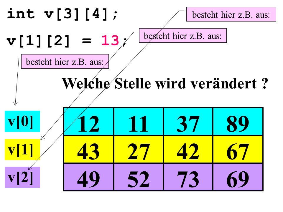 int v[3][4]; 49527369 43274267 12113789 v[1][2] = 13; Welche Stelle wird verändert ? v[0] v[1] v[2] besteht hier z.B. aus: