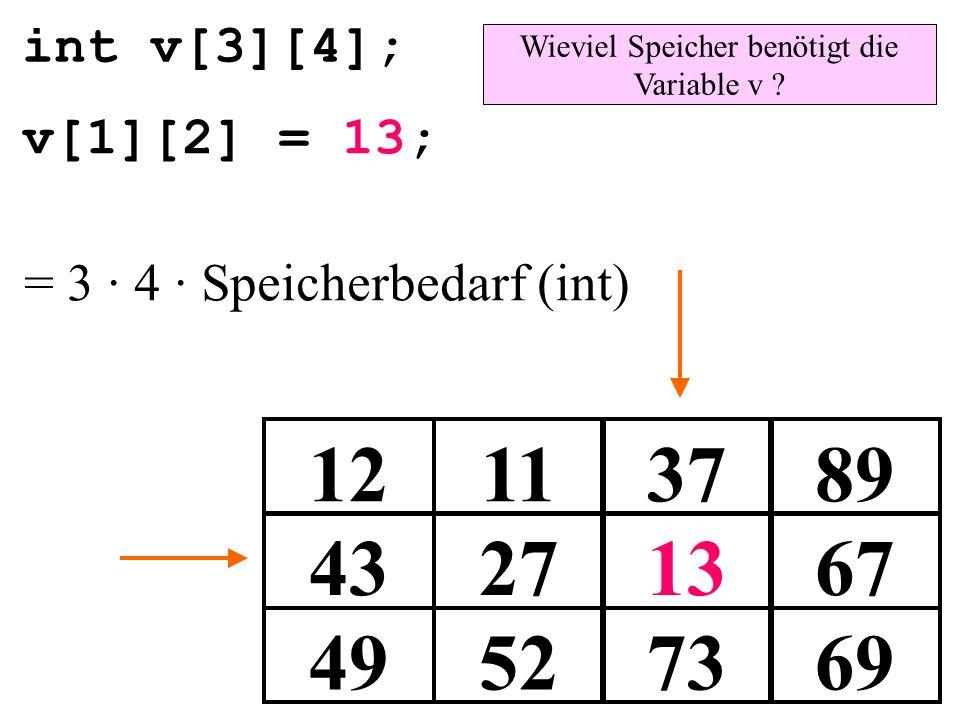 int v[3][4]; 49527369 43271367 12113789 v[1][2] = 13; Wieviel Speicher benötigt die Variable v ? = 3 · 4 · Speicherbedarf (int)