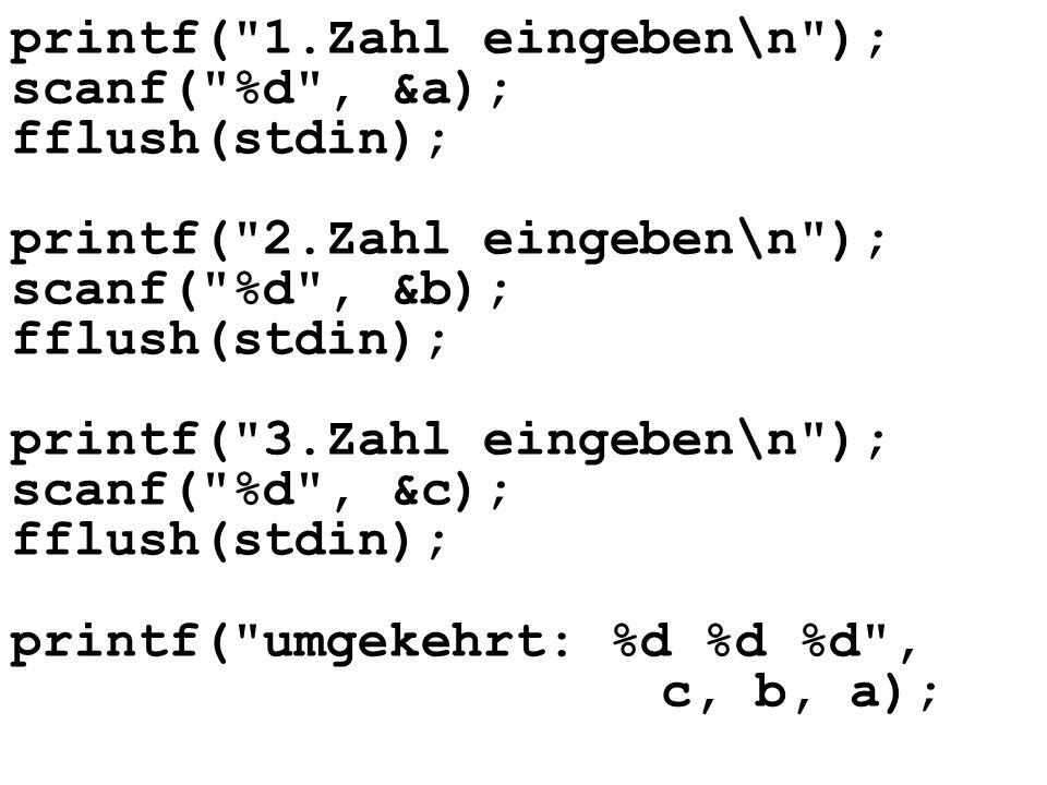 int main(){ const int LEN = 5; const char ENTER = 10; // Schleife nicht beenden int beenden = 0; int i; char vorname[LEN]; char nachname[LEN]; char kuerzel[3]; char temp; i = 0; printf( Vorname eingeben\n );