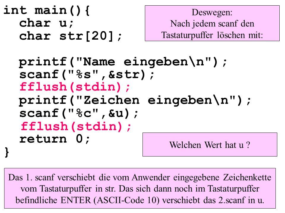 int main(){ char u; char str[20]; printf(